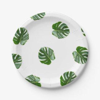 Monstera Leaf Print Tropical Paper Plates