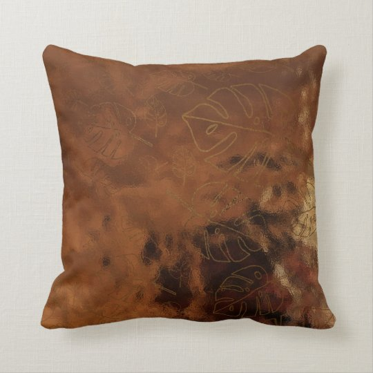 Monstera Leaf Tropical Gold Bronze Glass Maroon Throw