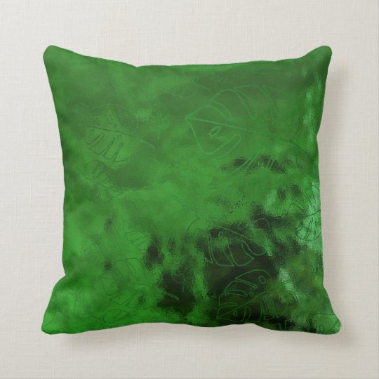 Monstera Leaf Tropical Green Emerald Green Glass Throw