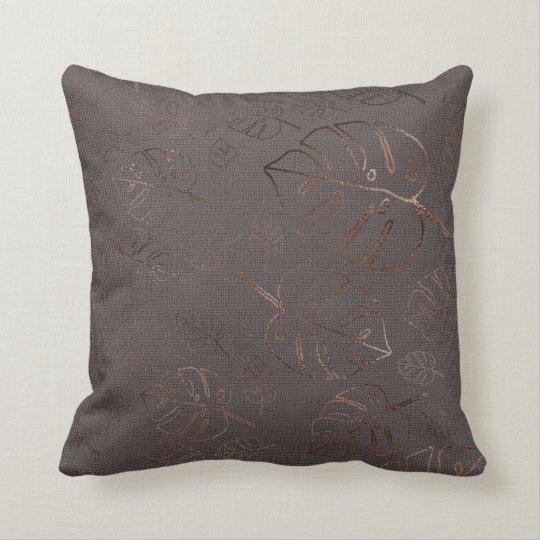 Monstera Leaf Tropical Plum Gold Copper Cushion