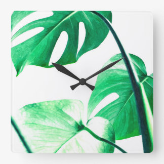 Monstera leaves tropical palm modern watercolor square wall clock