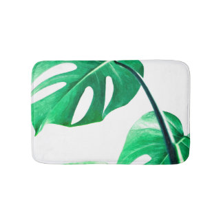 Monstera leaves tropical summer foliage bath mat