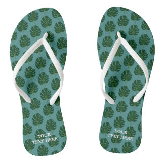 Monstera palm leaf custom beach flip flops
