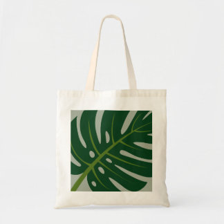 Monstera palm leaf print canvas tote bags