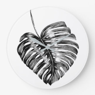 Monstera palm leaf tropical black and white large clock
