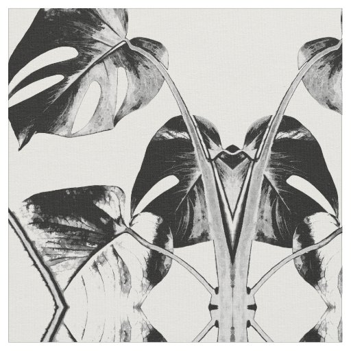 Monstera palm leaves tropical black and white fabric