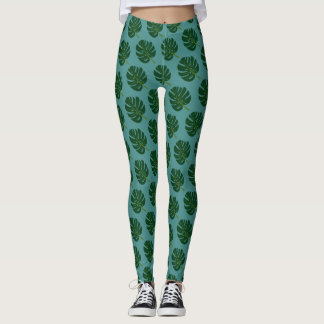 Monstera palm tree leaf pattern print leggings
