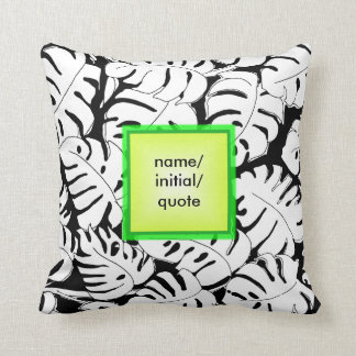 Monstera Personalize Throw Pillow