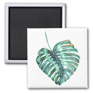 monstera tropical leaf palm modern watercolor square magnet