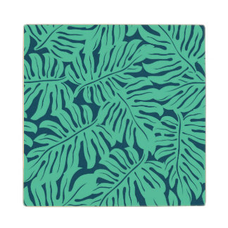 Monstera Tropical Leaf Pattern Maple Wood Coaster