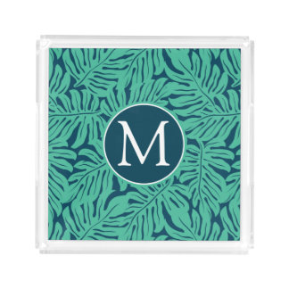 Monstera Tropical Leaf Pattern | Monogram Acrylic Tray