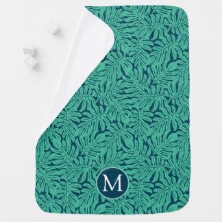 Monstera Tropical Leaf Pattern | Monogram Baby Blanket