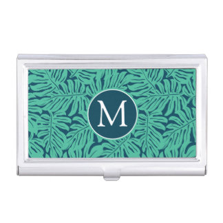 Monstera Tropical Leaf Pattern | Monogram Business Card Holder