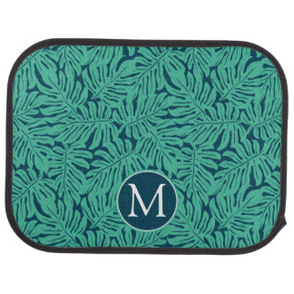 Monstera Tropical Leaf Pattern | Monogram Car Mat