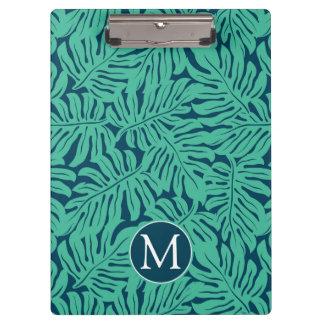 Monstera Tropical Leaf Pattern | Monogram Clipboard