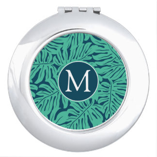 Monstera Tropical Leaf Pattern   Monogram Compact Mirror