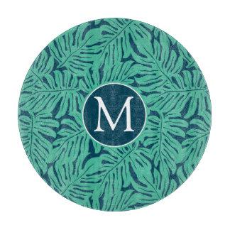 Monstera Tropical Leaf Pattern | Monogram Cutting Board