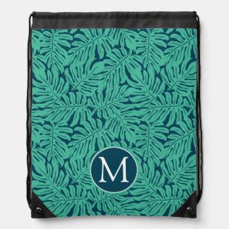 Monstera Tropical Leaf Pattern | Monogram Drawstring Bag