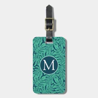 Monstera Tropical Leaf Pattern | Monogram Luggage Tag