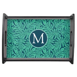 Monstera Tropical Leaf Pattern | Monogram Serving Tray