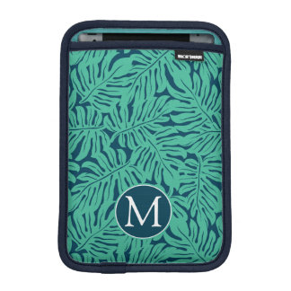Monstera Tropical Leaf Pattern | Monogram Sleeve For iPad Mini