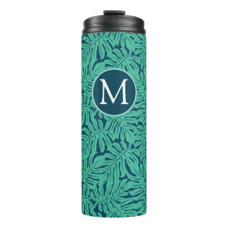 Monstera Tropical Leaf Pattern | Monogram Thermal Tumbler