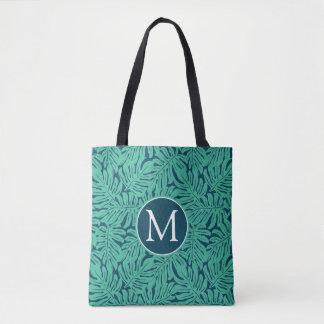Monstera Tropical Leaf Pattern | Monogram Tote Bag