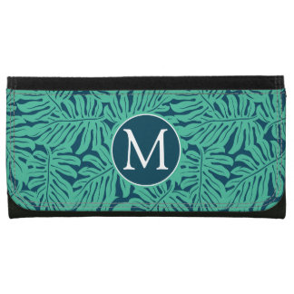 Monstera Tropical Leaf Pattern | Monogram Wallet