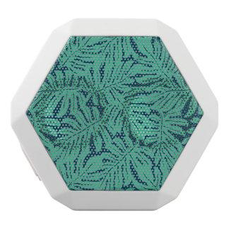Monstera Tropical Leaf Pattern White Bluetooth Speaker