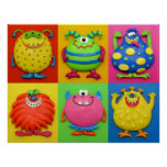 Monsters Baby Boy Shower Nursery Poster