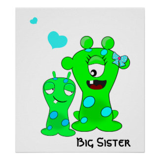 Monsters, Big Sister, Little Brother Cartoon Poster