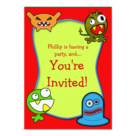 Monsters Kids Birthday Party Invitation