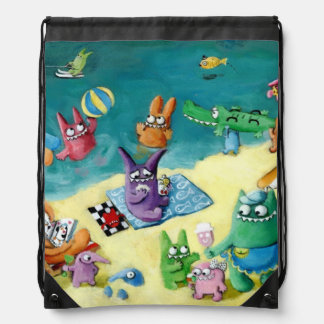 Monsters on the Beach Drawstring Bag