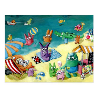 Monsters on the Beach Postcard