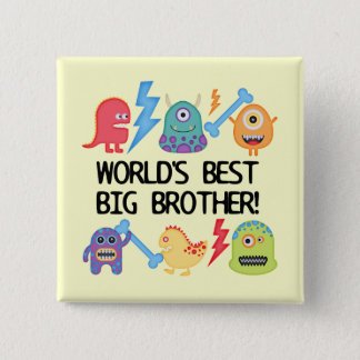 Monsters World Best Big Brother 15 Cm Square Badge
