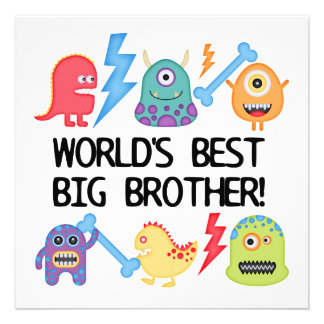 Monsters World s Best Big Brother Invitations