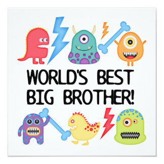 Monsters World's Best Big Brother Invitations
