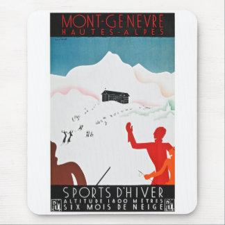 Mont Geneva Vintage Tourism Poster Mouse Mat