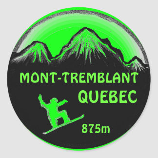 Mont Tremblant Quebec green snowboard art stickers