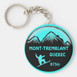 Mont Tremblant Quebec teal snowboard art keychain
