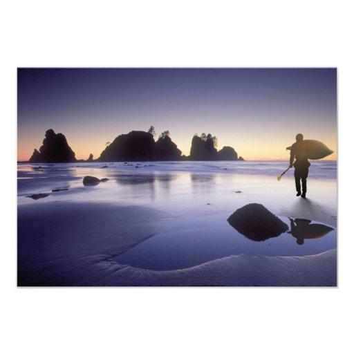 Montage of man carrying kayak, ShiShi Beach, Art Photo
