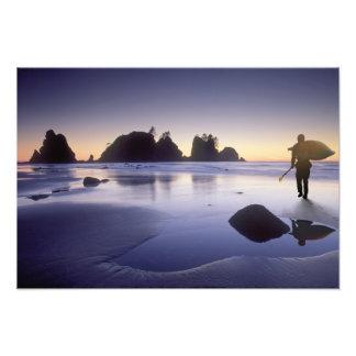 Montage of man carrying kayak, ShiShi Beach, Photographic Print
