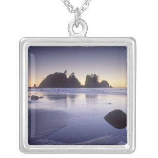 Montage of man carrying kayak, ShiShi Beach, Square Pendant Necklace