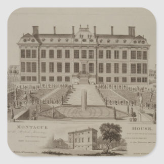 Montague House, now the British Museum, 1813 (engr Square Sticker