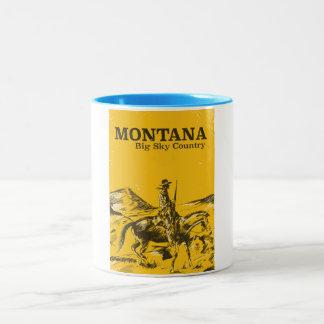 Montana Big sky Country vintage travel poster Two-Tone Coffee Mug