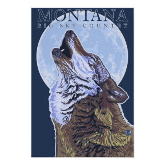 Montana -- Big Sky CountryHowling Wolf Poster