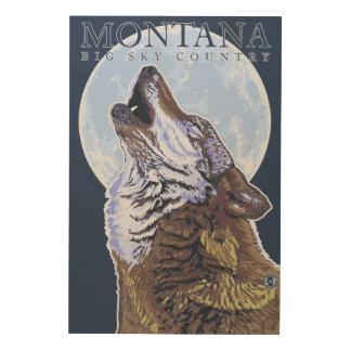 Montana -- Big Sky CountryHowling Wolf Wood Wall Decor