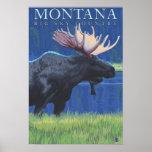 Montana -- Big Sky CountryMoose in Moonlight Poster