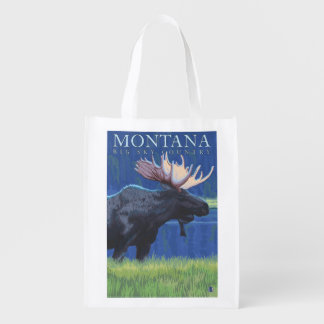 Montana -- Big Sky CountryMoose in Moonlight Reusable Grocery Bag