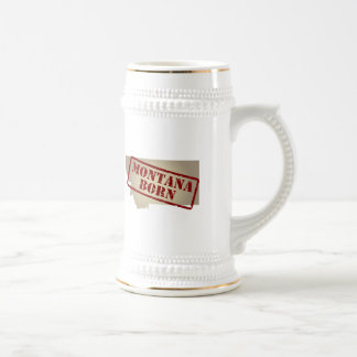 Montana Born - Stamp on Map Beer Steins